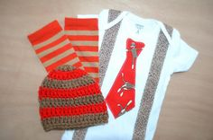 Coming Home Outfit  Baby Boy Sock Monkey Tie Onesie  Crocheted Sock Monkey Hat and Matching Legwarmers Baby Legs Newborn  3 Month Photo Prop