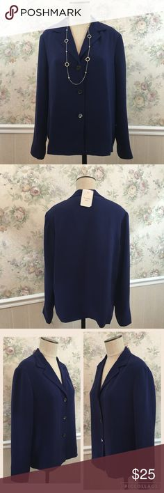Vintage Talbots Silk Blouse Nwt Vintage Talbot Silk Blouse. Pretty purple ish blue color with 3 button. Exterior 100% Silk interior 100% polyester. Size 12. Includes extra buttons Talbots Tops Blouses