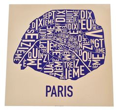 Paris Arrondissements Map by Ork Posters by orkposters on Etsy, $22.00