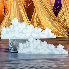 Our Ancient Greece Cloud Standee Set comes with two cardboard cutouts of fluffy white clouds. These cardboard props are printed on one side and are 7 1/2 feet.