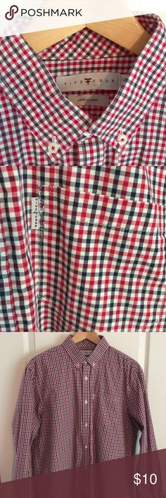 Five Four Casual Button Down Shirt-Large Five Four men's casual button down shirt. Color is red, navy, and white check. Large Five Four Shirts Casual Button Down Shirts