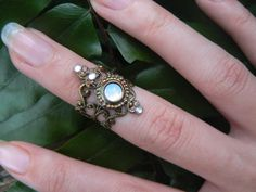 goddess midi ring armor ring white opal glass elfin cosplay nail ring nail tip ring festival goth victorian moon goddess pagan boho gypsy