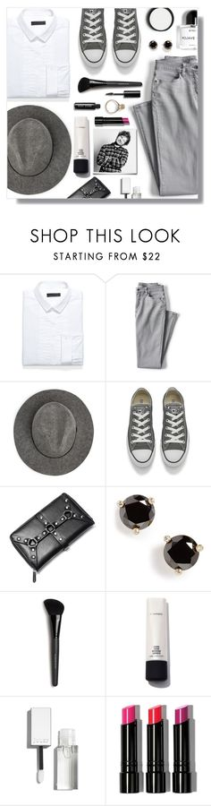 """""""Darlin' You Look Perfect Tonight!"""" by peony-and-python ❤ liked on Polyvore featuring Burberry, Lands' End, MANGO, Converse, Killstar, Kate Spade, Bare Escentuals, MAC Cosmetics, Bobbi Brown Cosmetics and monochrome"""