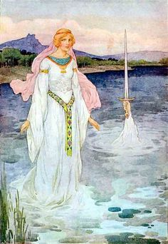 I loved the stories of King Arthur, Guinivere , Sir Galahad and the Knights of the Round Table. This illustration of the Lady of the lake and the sword Excaliber are so evocative of reading these books as a child.   R McN