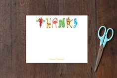 Zoo Animal Thanks Children's Personalized Stationery by Kaydi Bishop at minted.com