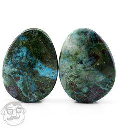 Chrysocolla Stone Teardrop Plugs