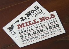 Mill No. 5 Letterpress Business Card