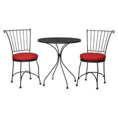 THRESHOLD Threshold Piazza 3-Piece Wrought Iron Patio Bistro Furniture Set - Red