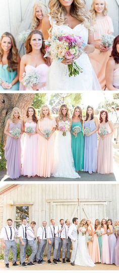 bridesmaid dresses pastels