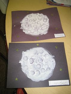 "For Night Time theme ~ Read Happy Birthday Moon. Students paint the moon with a mixture of white paint and flour. Complete the moon by adding ""craters"" using the lid of a water bottle."