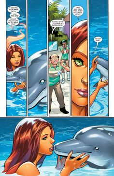 Starfire Helps Out A Dolphin Teen Titans Starfire, Nightwing And Starfire, Marvel Funny, Marvel Dc, Anime Comics, Dc Comics, Cosmic Comics, Superman Story, Comic Art