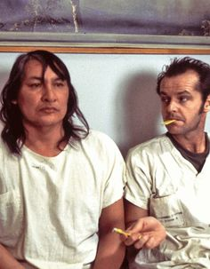 "Will Sampson as ""Chief"" Bromden with Jack Nicholson as Randle McMurphy. One flew over the cuckoo's nest, ""Mm. most beautiful, heartbreaking film I've ever seen. Jack Nicholson, Music Film, Film Movie, Great Films, Good Movies, Will Sampson, The Blues Brothers, Gena Rowlands, Actrices Hollywood"