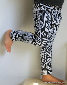 Kids Tribal Print Hipster Leggings black and white by BsugarB, $26.00