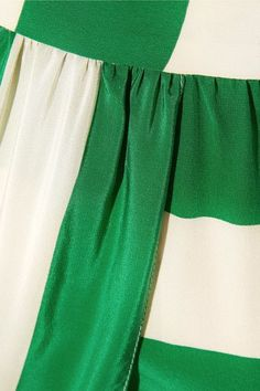 Juan Carlos Obando - Wrap-effect Striped Silk Crepe De Chine Skirt - Forest green - US10