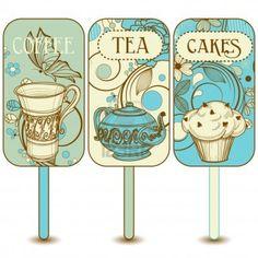 Coffee, tea, cupcakes labels