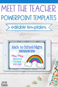 A bright & colorful Back to School Night PowerPoint template with a rainbow theme! It will help you clearly present information to parents in a fun way so you can build strong parent teacher relationships from the start. This is a great way to kickoff parent communication in your classroom. Use this editable meet the teacher night Powerpoint template when you don't have time to create your own. As a bonus, the PowerPoint also comes with matching sign-in and volunteer sign-up forms for parents.