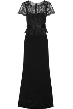 Lace and silk-satin gownby Notte by Marchesa from net-a-porter. #blackbridesmaid #weddingstyle