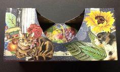 Tissue box #3b ~ ©NSoppelsa ~ #collage #art #cat #decoupage #ephemera #decor