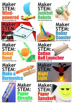 Ten engaging hands-on STEM activities for a maker space that use recylced and craft materials. Engineering Projects, Stem Projects, Science Projects, Engineering Challenges, Science Ideas, Science Experiments, Library Skills, Library Ideas, Middle School Libraries