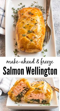 Salmon Wellington is an easy but impressive recipe you can prep ahead for entertaining. Salmon wrapped in puff pastry with spinach, then baked until golden, this salmon en croute is to die for! Salmon Wellington Recipe, Wellington Food, Top Recipes, Quick Recipes, Cooking Recipes, Easy Healthy Dinners, Healthy Snacks, Healthy Recipes, Salmon In Puff Pastry