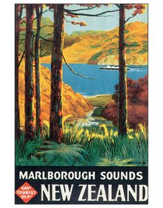 Marlborough Sounds NZ Vintage Poster for Sale - New Zealand Art Prints New Zealand Art, New Zealand Travel, Marlborough Sounds New Zealand, Pub Vintage, Vintage Art, Vintage Style, Retro Poster, Poster Vintage, Retro Print