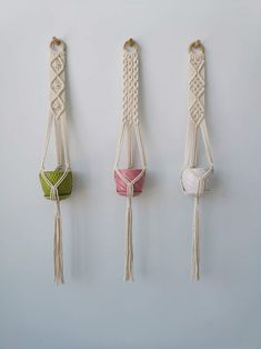 Set of 3 Styles Macrame Plant Hangers Hanging Plant Pot Macrame Plant Hanger Patterns, Macrame Wall Hanger, Macrame Patterns, Macrame Art, Macrame Projects, Wall Plant Hanger, Crochet Patterns Amigurumi, Hanging Plants, Weaving
