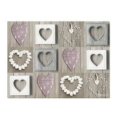 Just Contempo 40x30cm Glass Shabby Chic Pebble Hearts Glass Kitchen Worktop  Saver / Table Protector,