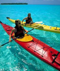 Sea kayaking Glover's Reef, Long Caye, Belize