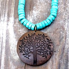 Buy Coconut Shell Tree of Life Pendant Necklace - Turquoise Beads by Soothi | Style With Substance on OpenSky
