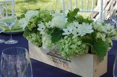 Designer Unknown, Wine box filled with green and white flowers Flowers Wine, White Flowers, Wine Boxes, Wine Crates, Hall Winery, Karen Tran, Wedding Reception Decorations, Wedding Inspiration, Wedding Ideas