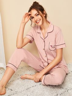 To find out about the Letter & Floral Embroidered Button-up Pajama Set at SHEIN, part of our latest Pajama Sets ready to shop online today! Cute Sleepwear, Sleepwear Women, Pajamas Women, Loungewear Outfits, Pajama Outfits, Cute Pajama Sets, Cute Pajamas, Lingerie Set, Women Lingerie