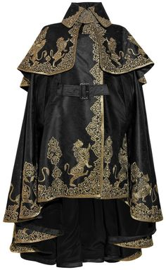 *HNNNNNNNG* black silk-jacquard heavy-weight cape with gold tapestry-effect embroidery - mcqueen via LYST.