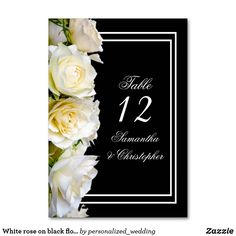 Shop White rose on black floral wedding table number created by personalized_wedding. Sophisticated Wedding, Elegant, Wedding Store, Wedding Table Numbers, Table Cards, Floral Bouquets, Romantic Weddings, Wedding Color Schemes, White Roses