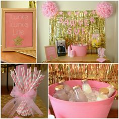 Twinkle Twinkle Little Star Party/ pink & gold party/ star party/ drink station/ milk jugs