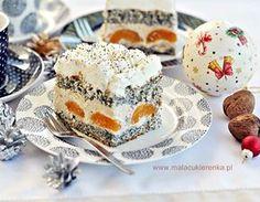 "Ciasto ""Makowa Panienka"" z morelami i orzechami - Mała Cukierenka Cake Recipes, Dessert Recipes, Food Cakes, Panna Cotta, Deserts, Pudding, Sweets, Dishes, Cookies"