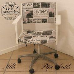 Retro kontorstol i Milk Autentico kalkmaling