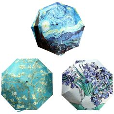 Oil Painting Silver Glue Umbrella Cloth 3 Folding Manually Parasol Rain Umbrella