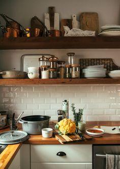 my kitchen - The First Mess Kitchen Corner, Kitchen Shelves, Kitchen Dining, Kitchen Decor, Kitchen Cabinets, Rustic Kitchen, Open Concept Kitchen, Dream Apartment, Beautiful Kitchens