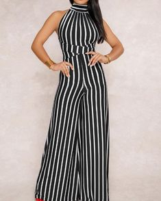 Stripes Halter Open Back Wide Leg Jumpsuits Women's Online Shopping Offering Huge Discounts on Dresses, Lingerie , Jumpsuits , Swimwear, Tops and More. Long Jumpsuits, Jumpsuits For Women, Striped Jumpsuits, Trendy Outfits, Fashion Outfits, Summer Outfits, Womens Fashion Online, Latest Fashion, Lace Sleeves