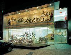 Bicycle exhibition Cello Showroom Design, Shop Interior Design, Retail Design, Bicycle Cafe, Bicycle Store, Stand Design, Booth Design, Retail Architecture, Hotel Lobby