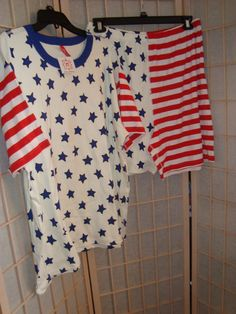 New WT Hanna Anderson Sz XL Women's Red White & Blue Stars & Stripes Pajama Set #HannaAnderson #PajamaSets