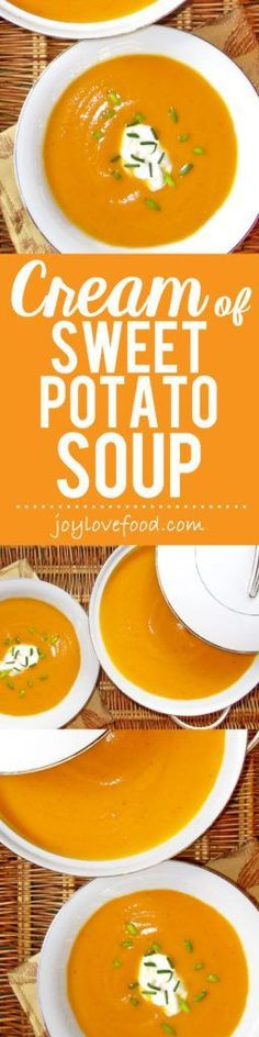 Sweet Potato Soup - rich and velvety, creamy and smooth, this pretty soup is perfect for fall and the holiday season.Cream of Sweet Potato Soup - rich and velvety, creamy and smooth, this pretty soup is perfect for fall and the holiday season. Soup Recipes, Vegetarian Recipes, Cooking Recipes, Healthy Recipes, Milk Recipes, Chicken Recipes, Sweet Potato Soup, Sweet Potato Recipes, Soup And Salad