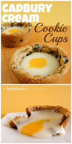 Maybe with chocolate cookie cups-Homemade Cadbury Cream Cookie Cups Recipe- Homemade Cadbury Cream stuffed inside chocolate chip cookie cups. No Egg Cookies, Cookies And Cream, Cookies Et Biscuits, Yummy Treats, Delicious Desserts, Sweet Treats, Chocolate Chip Cookie Cups, Cookie Recipes, Healthy Life