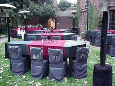 this was pinned for a wedding, but Halloween party seems more fun with this decor.  headstone chairs