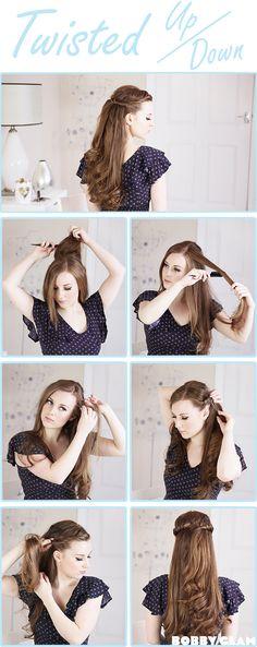 Twisted half hair tutorial