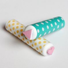 Make your own itty bitty stamps using a sheet of foam and an old tube of chapstick.
