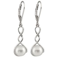 Bella Pearls Women's White Freshwater Pearl Drop Sterling Silver Earrings v3NZE9