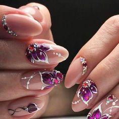 Cute Nail Art Designs, Gel Nail Designs, Beautiful Nail Designs, Diy Nails, Cute Nails, Nail Art Beads, Caviar Nails, Nagellack Design, Studded Nails