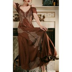 Dress  in Coffee/amethyst