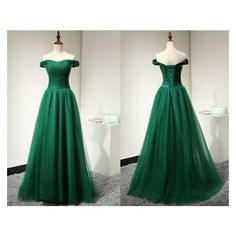 Emerald Green Evening Dress for Weddings Long Fashion Simple Elegant... ❤ liked on Polyvore featuring dresses, short dresses, tulle prom dresses, formal dresses, off the shoulder prom dresses and off the shoulder dress